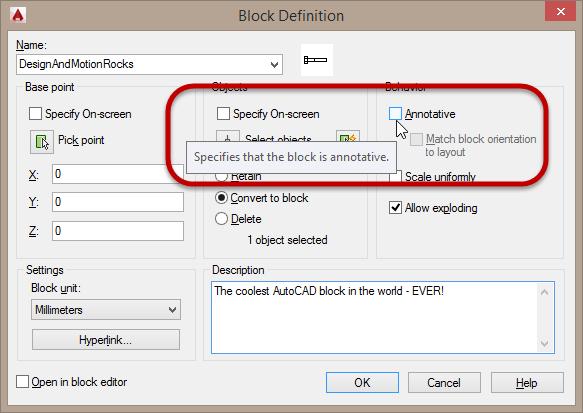 AutoCAD Block definition Annotative option