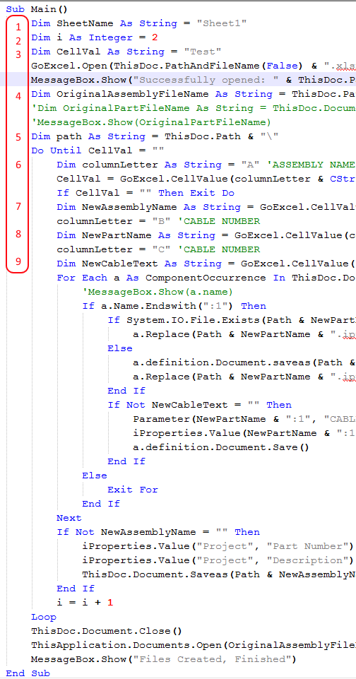 Inventor API Variable Count