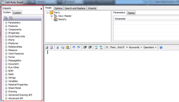 iLogic Edit Rule dialogue snippets