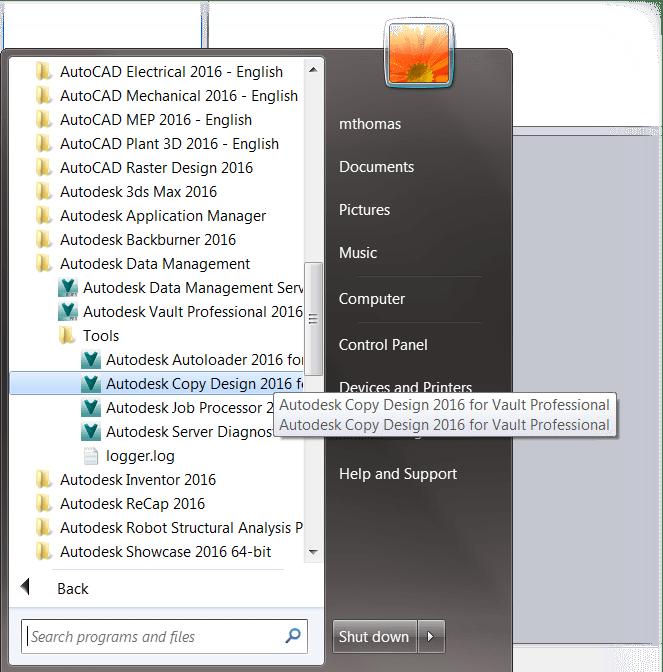 Copy Design Start Menu Location