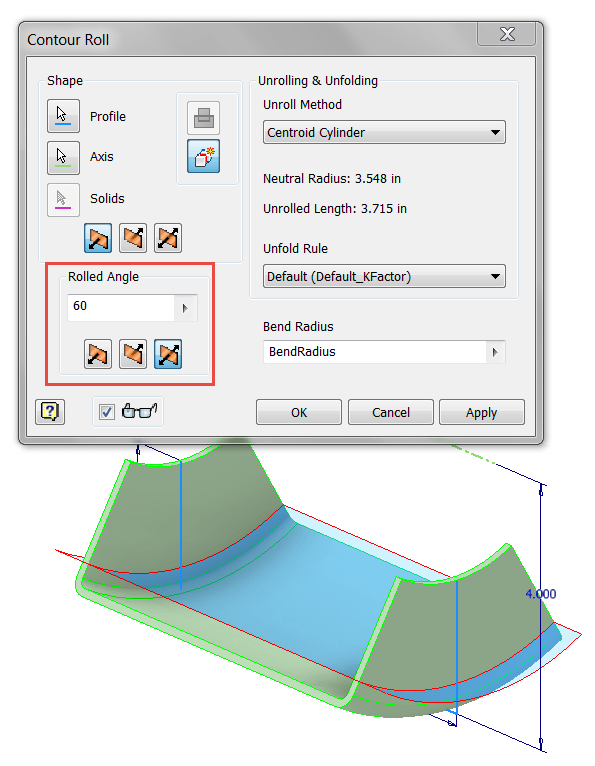 Inventor SM - Contour Roll Rolled Angle