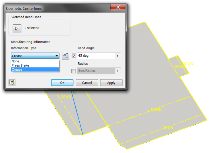 Inventor Sheet Metal - Cosmetic Centerlines
