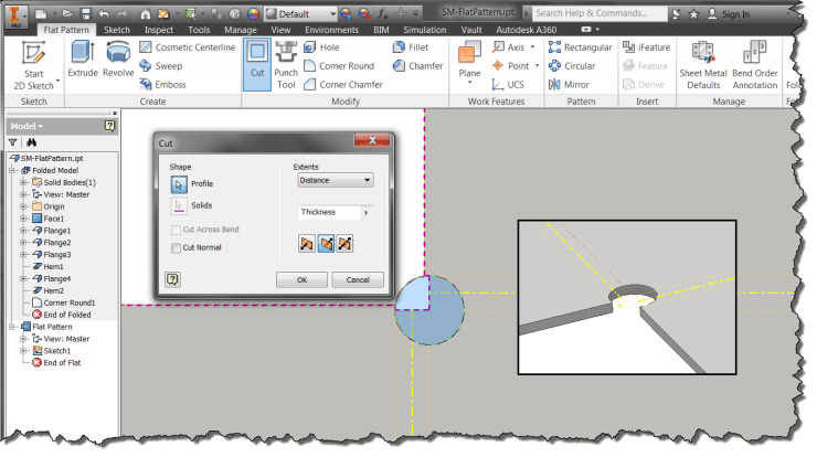 Inventor Sheet Metal - Flat Pattern Add Feature