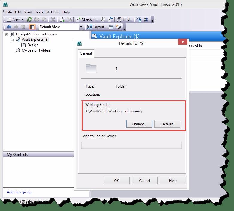 Frame - Vault Setting Working Folder