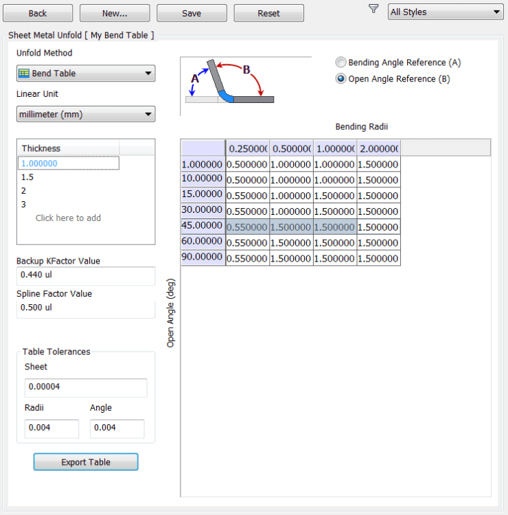 Inventor Sheet Metal Unfold Rule Bend Table