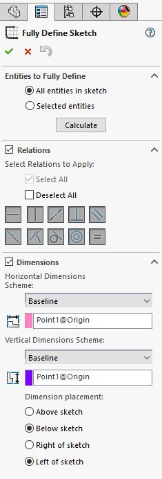 Solidworks Fully Define Sketch Options