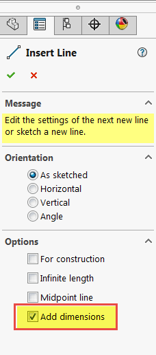Solidworks Sketching Add Dimension