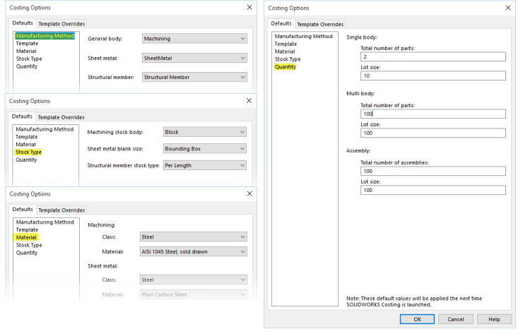 Solidworks Costing Options