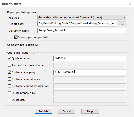 Solidworks Costing Report Options