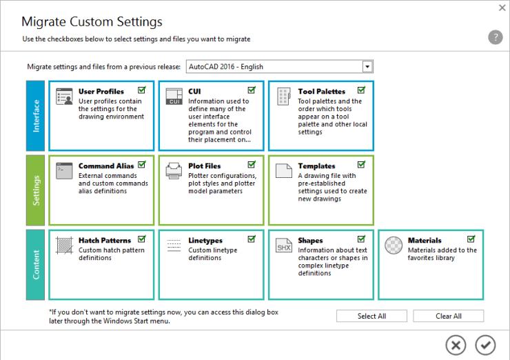 AutoCAD 2017 Migrate Custom Settings