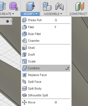 Combine Tool in Fusion 360