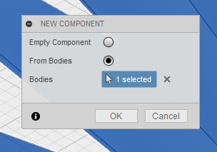 Create New Component in Fusion 360