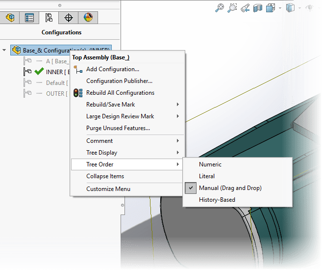 SOLIDWORKS 2017 User Interface Config Sort Order