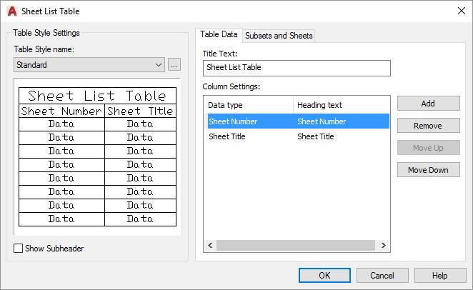 AutoCAD-Sheet-Set-Sheet-List-Table-Dialog