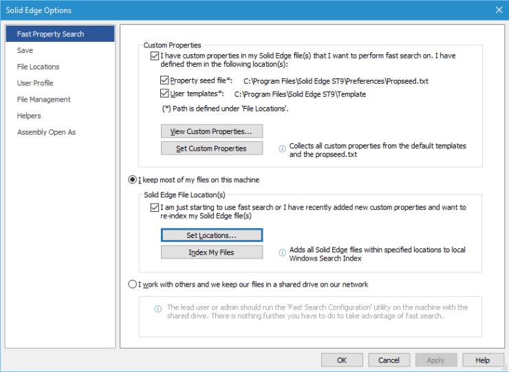 From the Solid Edge Options dialog, the Set Locations... button will take you to Windows Indexing Options.