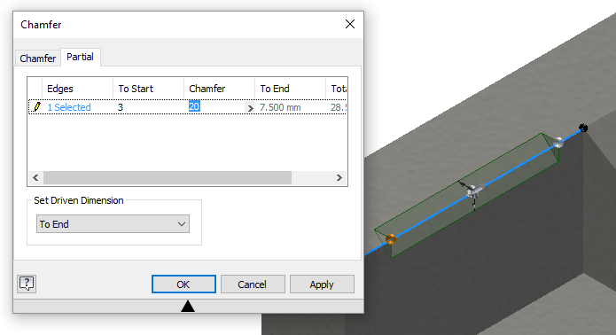 Inventor 2018 Partial Chamfer