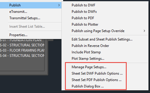 Sheet Set Publishing Configuration Menu