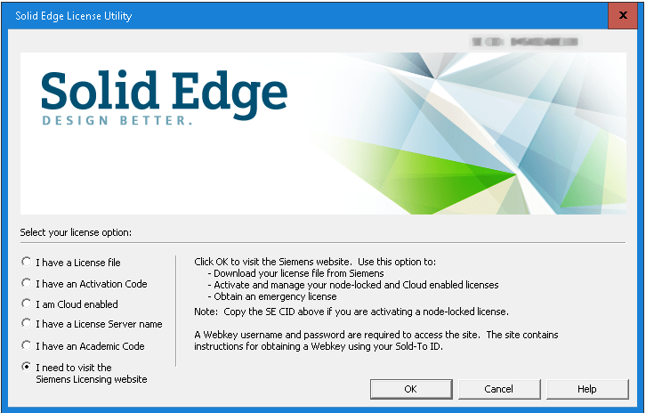 Solid Edge ST9 Licensing Dialog