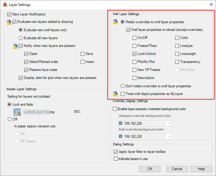 AutoCAD Update New Xref Layer Property Enhancements
