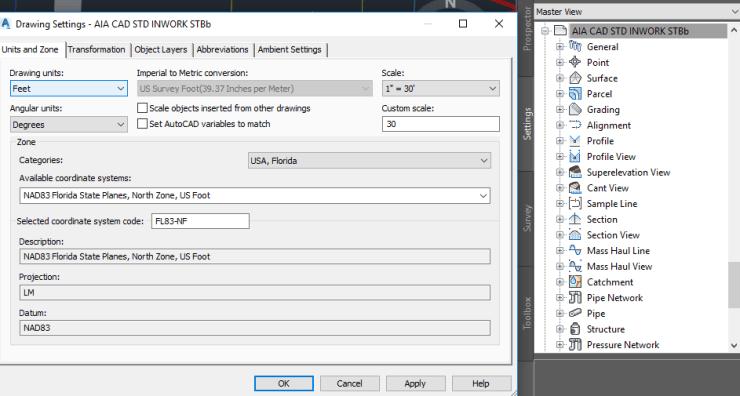 AutoCAD Civil 3D Settings page