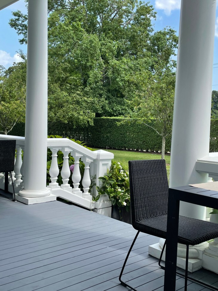 Design and Style Report image, Topping Rose House in Bridgehampton NY, outdoor dining on the veranda