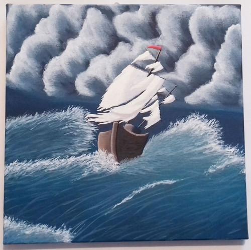 lod v bouři