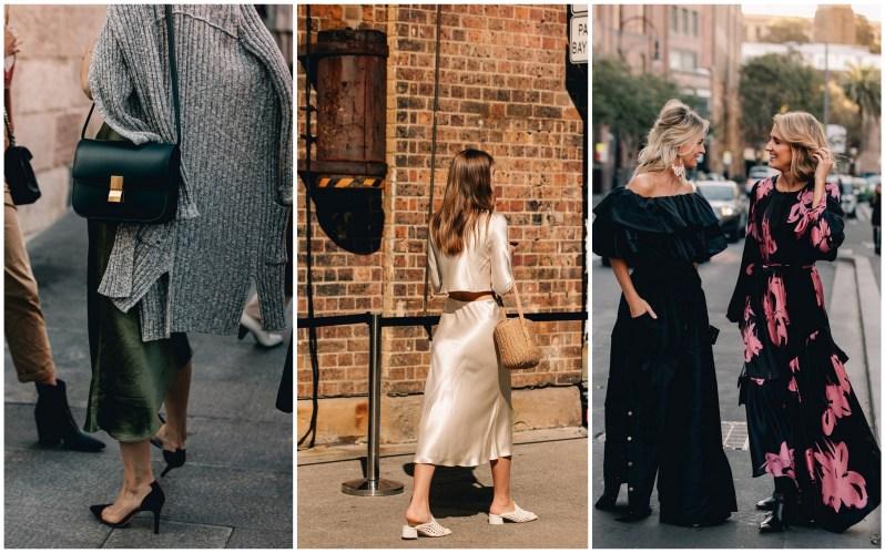 Žena v khaki lesklé midi sukni se šedým svetrem a černou crossbody kabelkou. Módní žena v kompletu topu a dlouhé sukně ve světlé barvě se slaměnou kabelkou. Dvě blonďaté ženy v tmavých maxišatech.