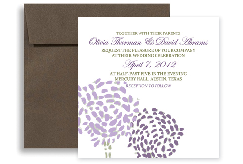 Purple Green Modern Template Printable Wedding Invitation