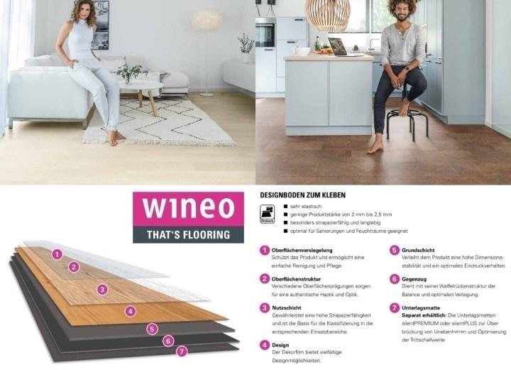 Dryback Designboden zr Verklebung oder Verlegung mit Verlegeunterlage