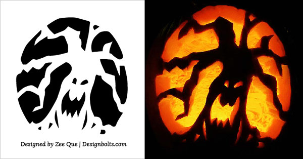 5 Free Scary Halloween Pumpkin Carving Stencils, Designs