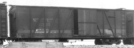 W&LE single-sheathed box car, circa 1925.