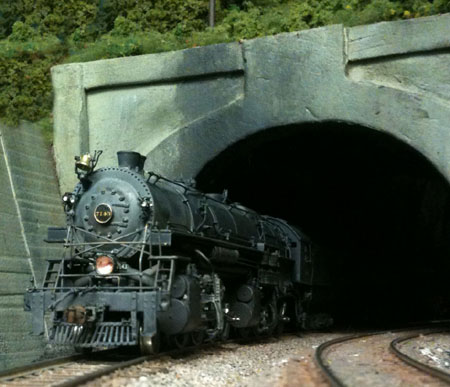 A B&O mallet storms from a tunnel on the B&O West End.
