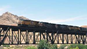 The eastbound train captured crossing the Rio Grande bridge.