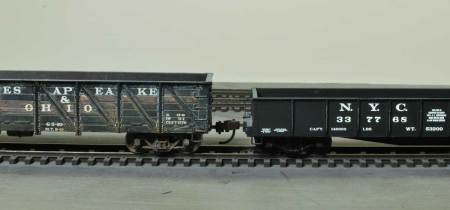 Weathered on the left and stock trucks on the right.