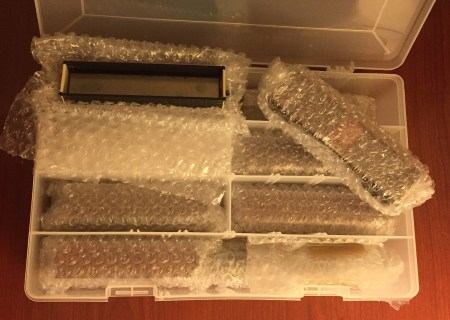 What freight car models look like in bubble wrap.