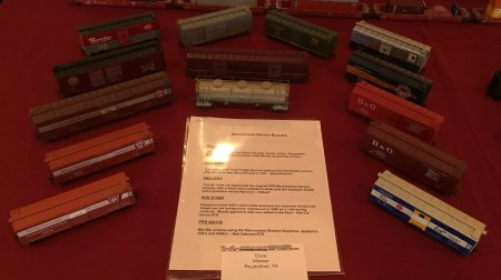 Dave Messer displayed a number of HO scale steam era freight cars in classic paint and lettering schemes.