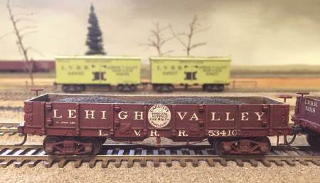 This Lehigh Valley 33-foot double hopper gondola is a Canfield and McGlone resin kit.