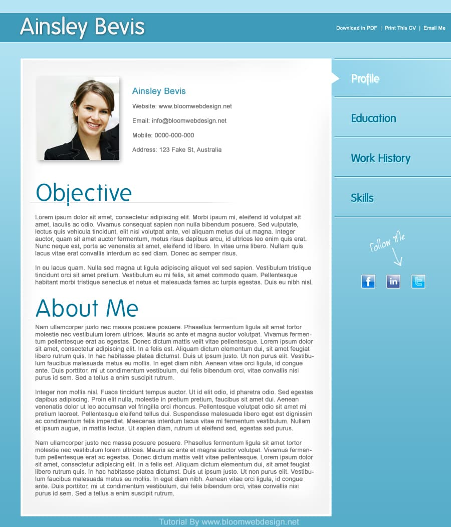 design a professional resume cv template in photoshop designbump