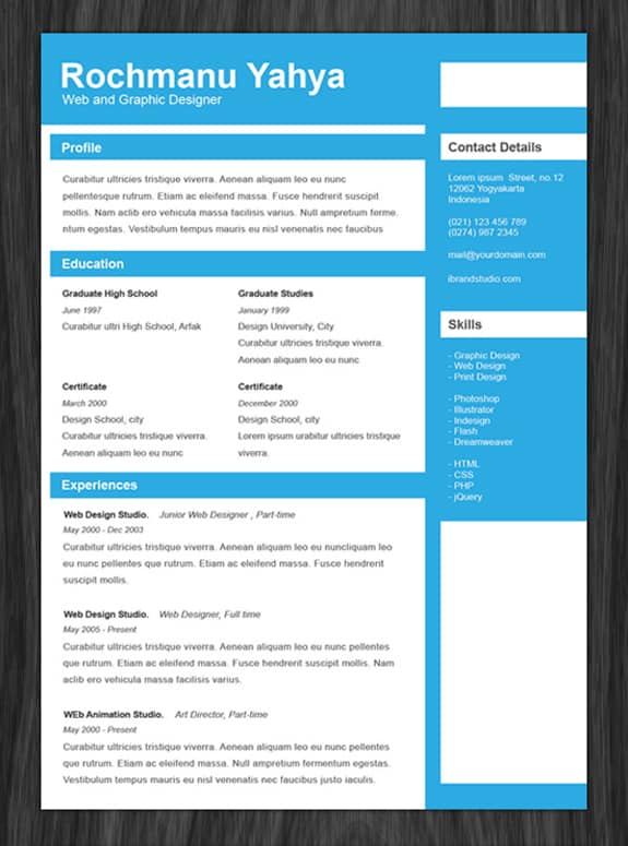 25 Free HTML Resume Templates for Your Successful Online.
