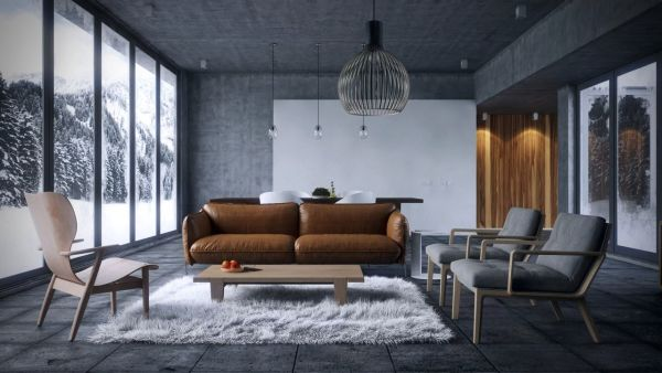 windowed-walls-living-spaces-with-brown-sofas-and-fur-rugs