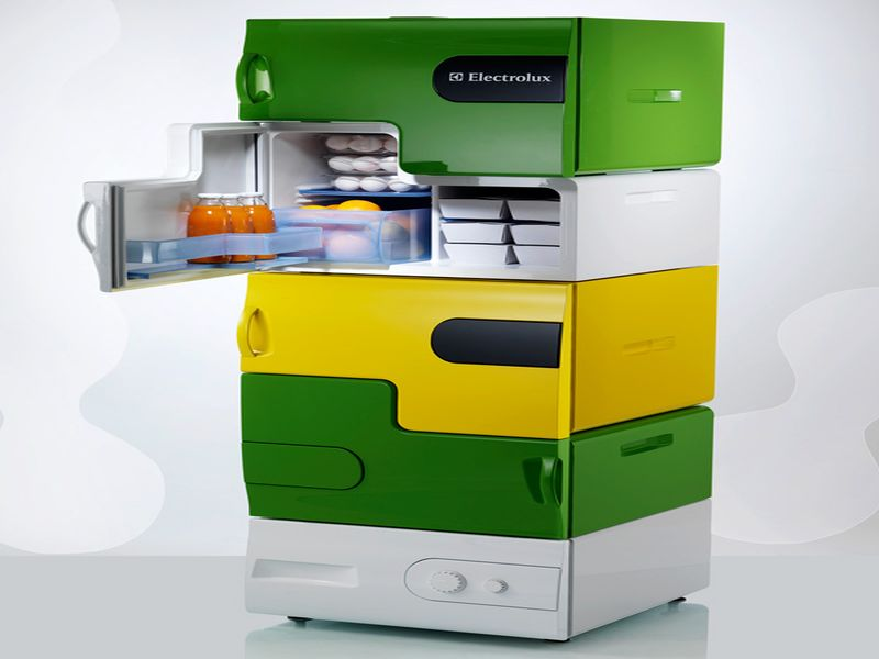 electrolux bio robot refrigerator. stefan buchberger gave the concept of flatshare refrigerator from university applied arts, vienna, austria. it has a design, which is especially for electrolux bio robot