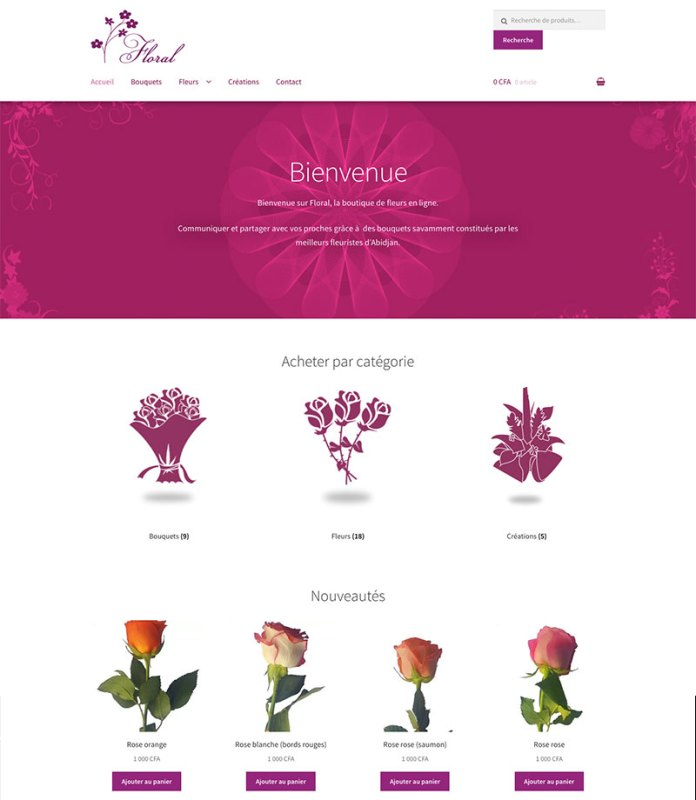 site floral- Design by Chelty, Agence web à Abidjan
