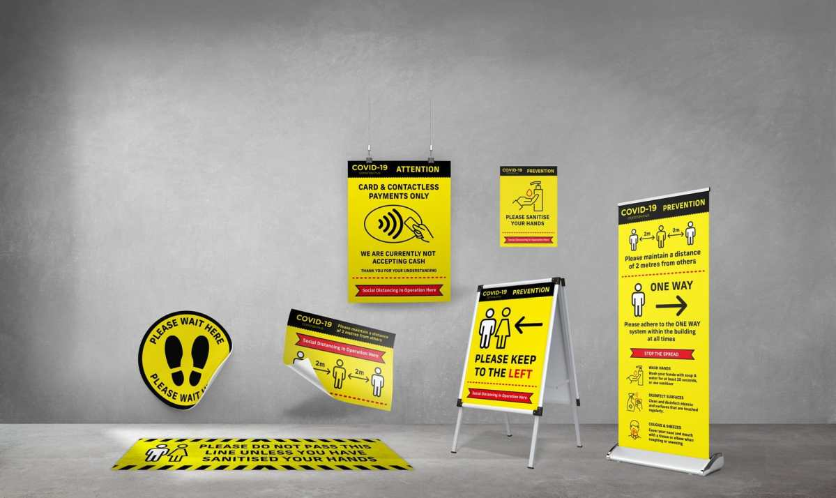 Social Distancing Signage PPE Covid19 Bridgwater Somerset