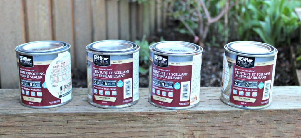 Behr semi transparent stain in sample sizes