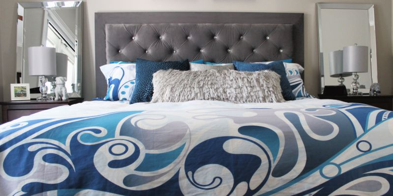 DIY Headboard with crystal buttons
