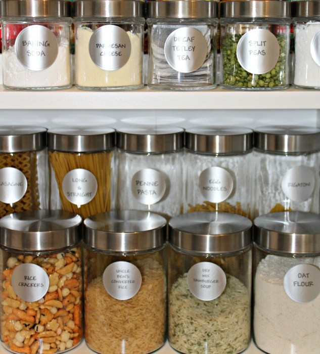 Organize you pantry. Use dollar store containers for pantry organization