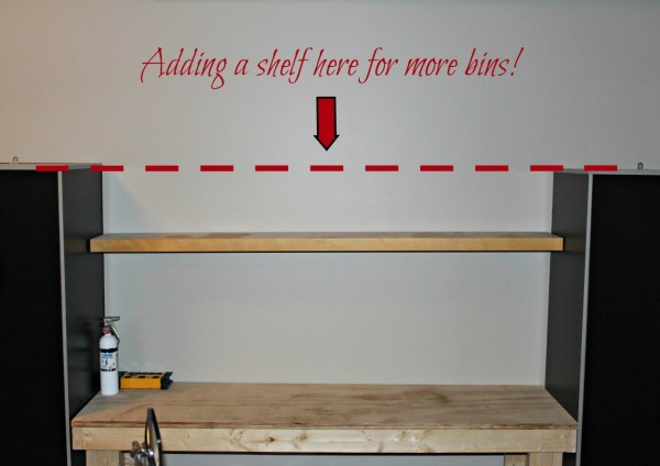 add storage to your garage using bins and labels for a easy and affordable storage and organization solution|DIY Workbench|Storage cabinets for the garage