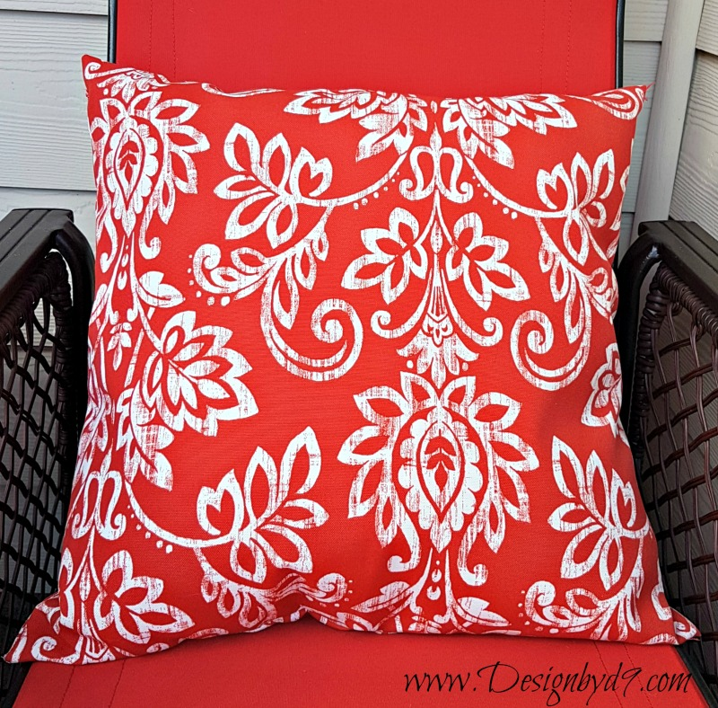 $100 Room Challenge|#100roomchallenge|deck refresh|red fabric|red pattern pillows|