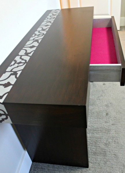 Ikea Billy bookcase stencil tutorial with rustoluem metallics paint and cutting edge stencils. DIY Sewing table with java gel stain and stenciling