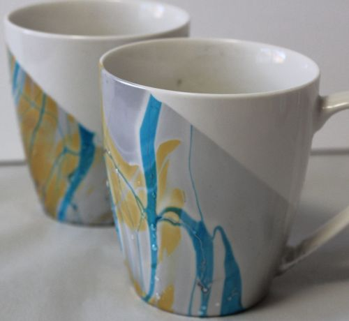 You can marble mugs and ceramics with nail polish. Fast easy and cheap project that you can complete with dollar store supplies. Fun project to do with kids. Quick cheap and great results.